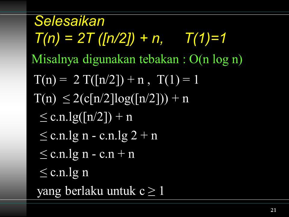 Selesaikan T(n) = 2T ([n/2]) + n, T(1)=1